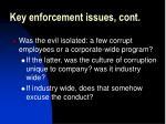 key enforcement issues cont