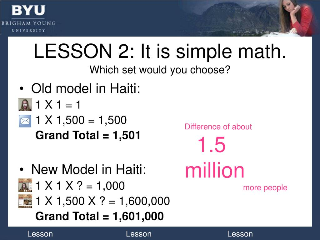 LESSON 2: It is simple math.