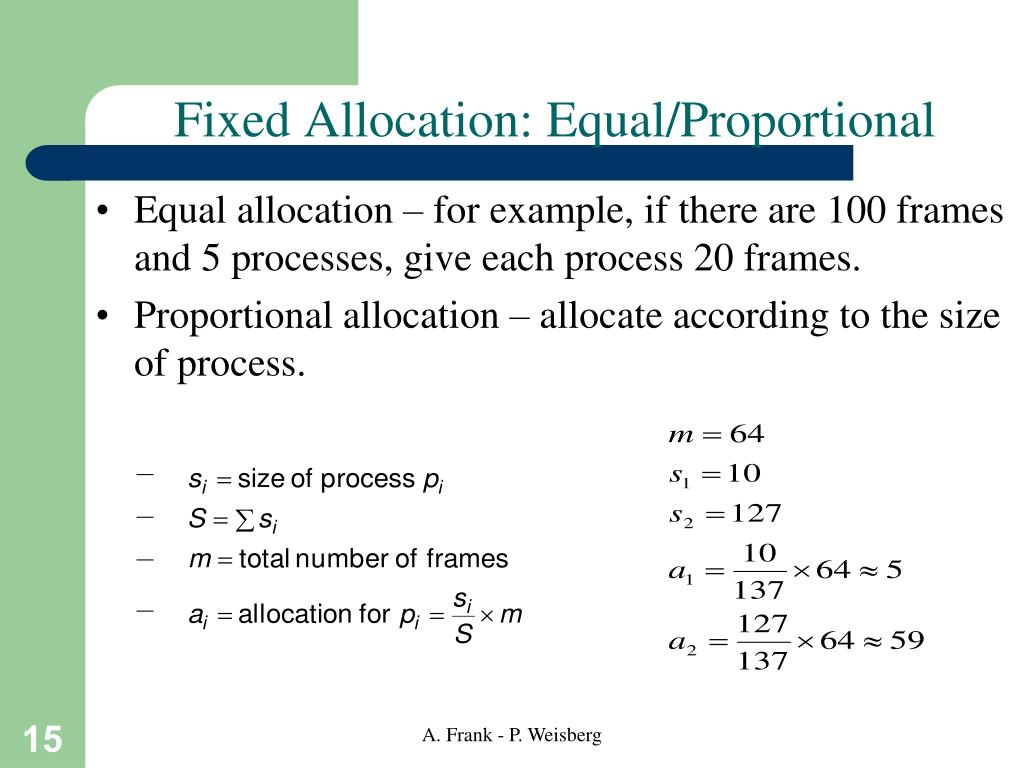 Fixed Allocation: Equal/Proportional
