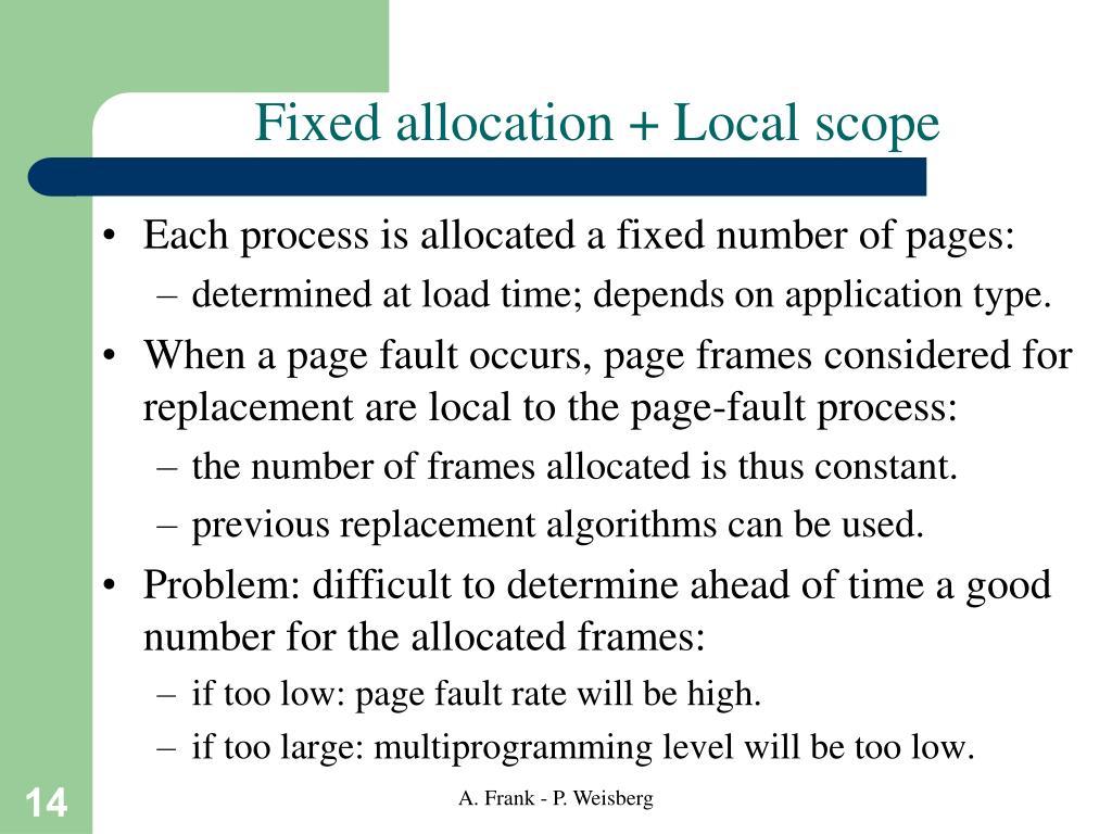 Fixed allocation + Local scope