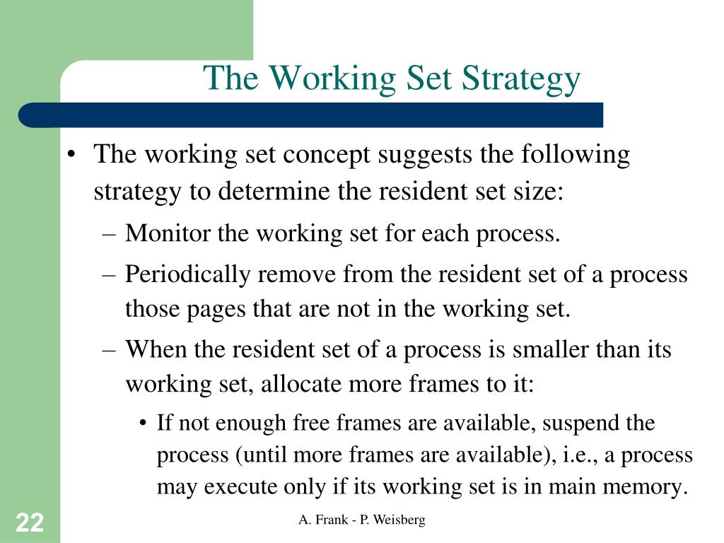 The Working Set Strategy