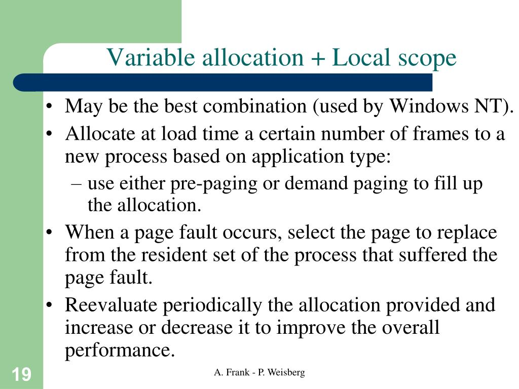Variable allocation + Local scope