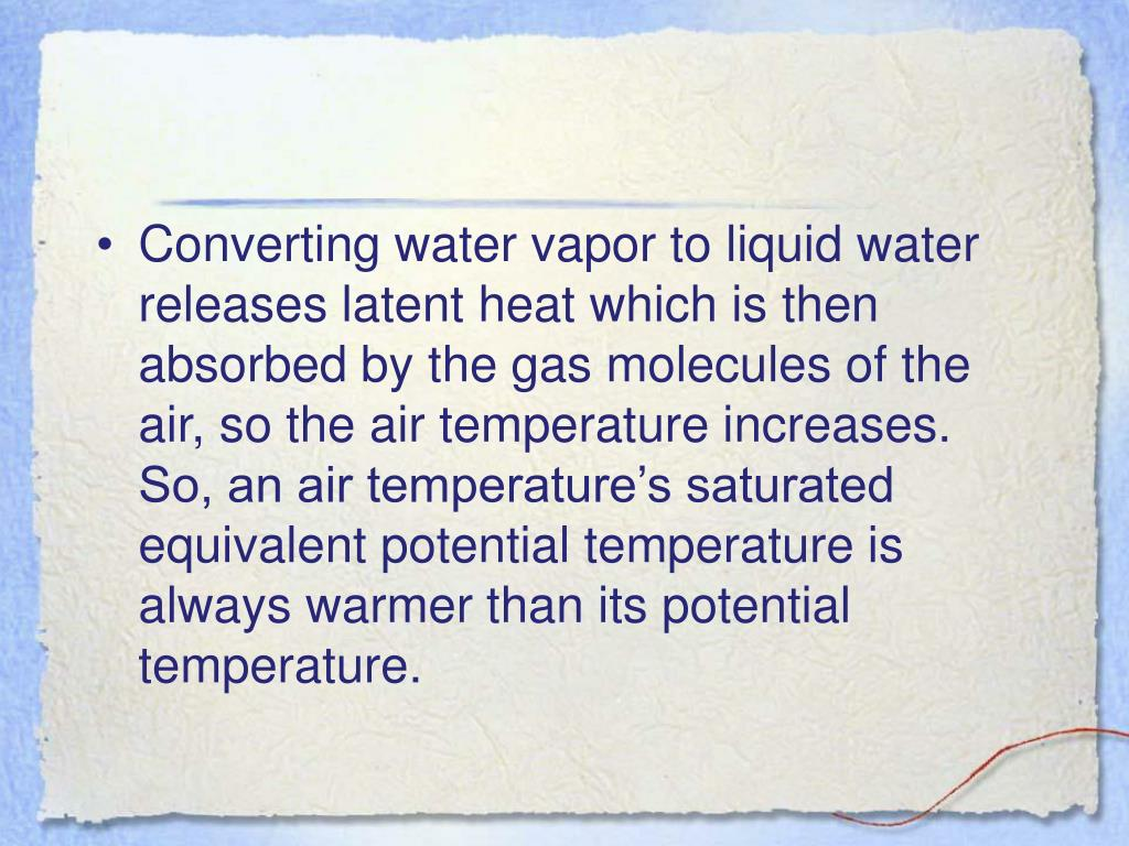 Converting water vapor to liquid water releases latent heat which is then absorbed by the gas molecules of the air, so the air temperature increases.  So, an air temperature's saturated equivalent potential temperature is always warmer than its potential temperature.