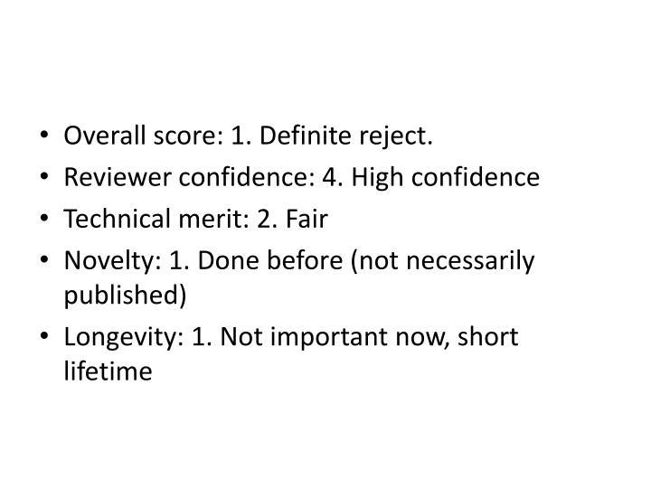 Overall score: 1. Definite reject.