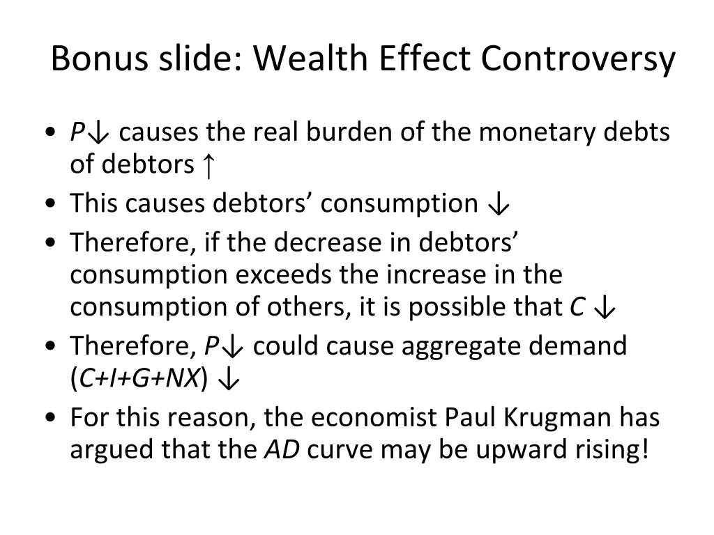 Bonus slide: Wealth Effect Controversy
