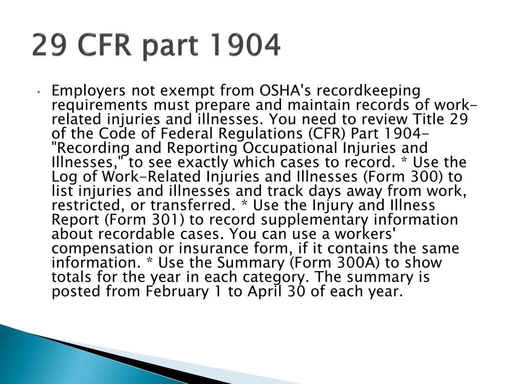 29 CFR part 1904