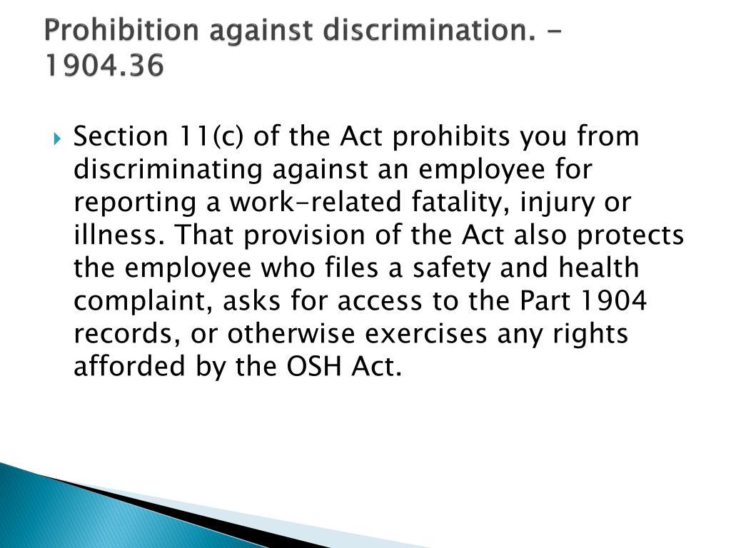 Prohibition against discrimination. - 1904.36