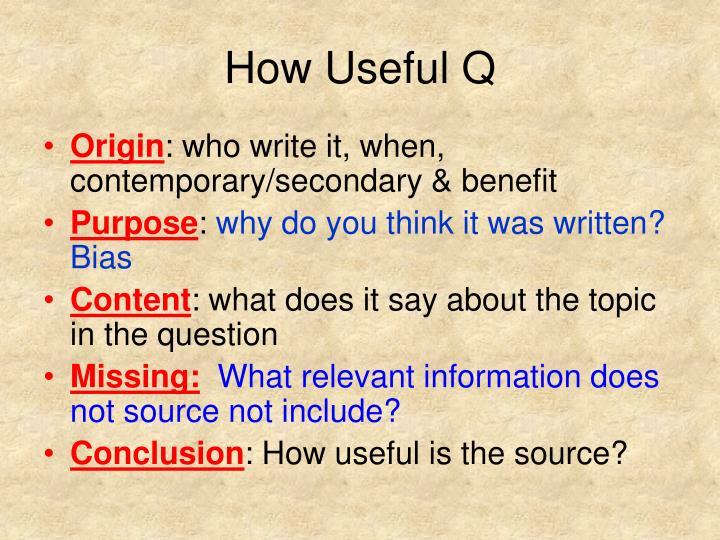 How useful q