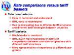 rate comparisons versus tariff baskets