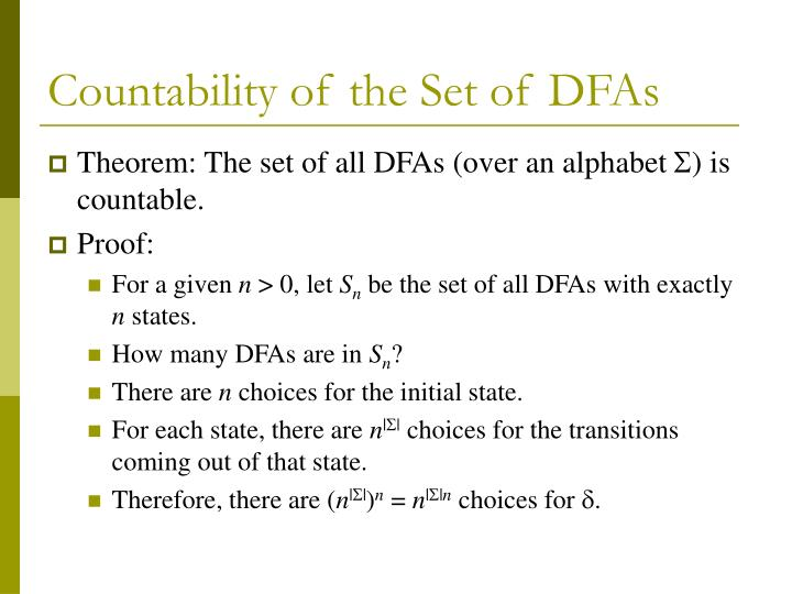 Countability of the set of dfas