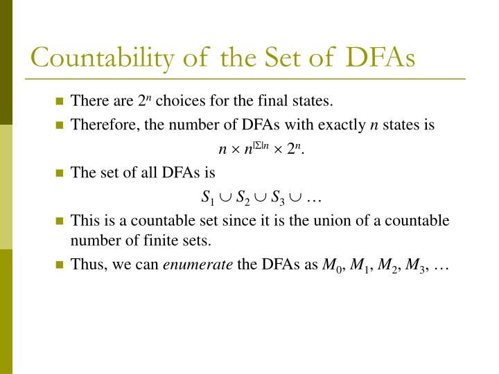 Countability of the set of dfas3