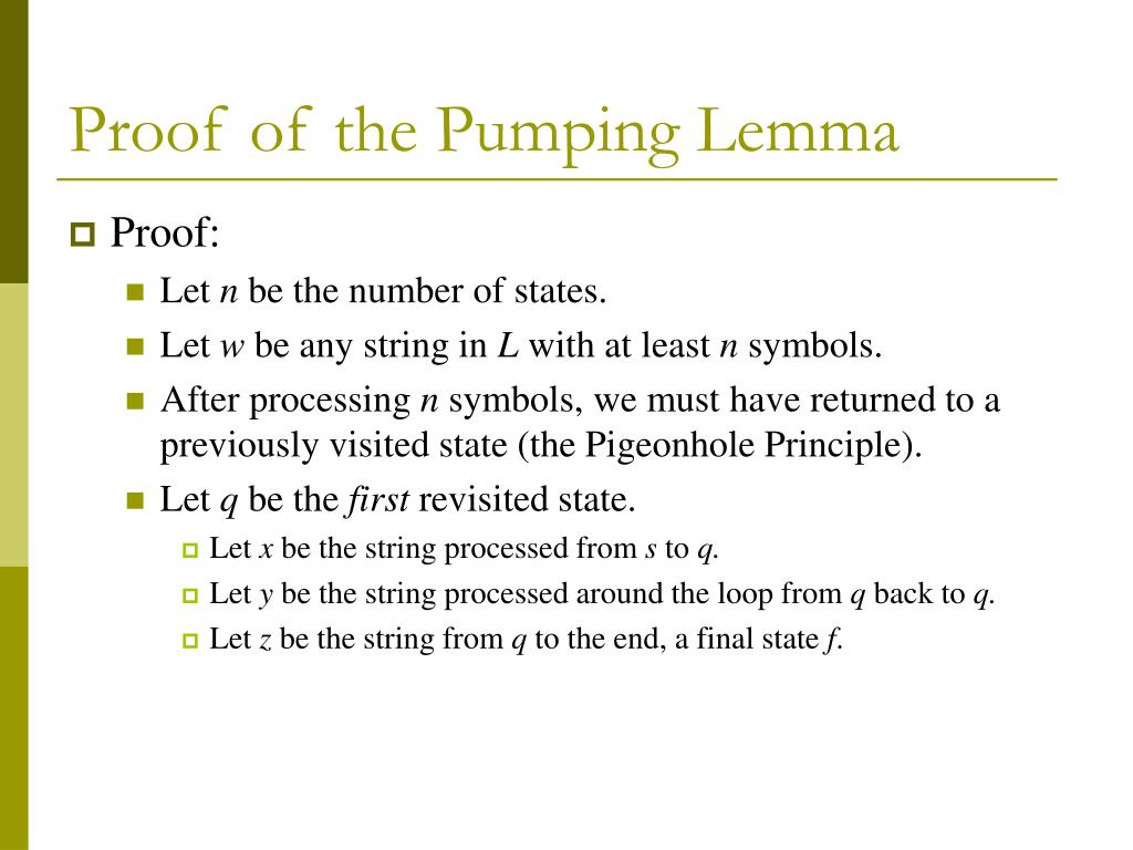Proof of the Pumping Lemma