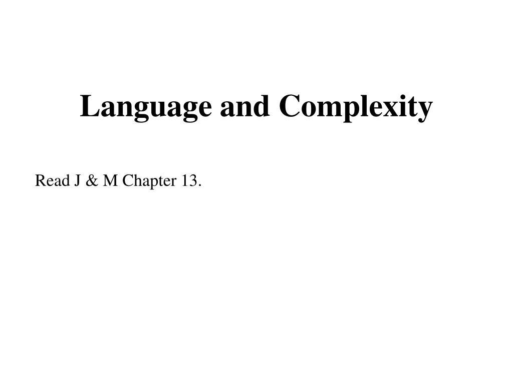 Language and Complexity