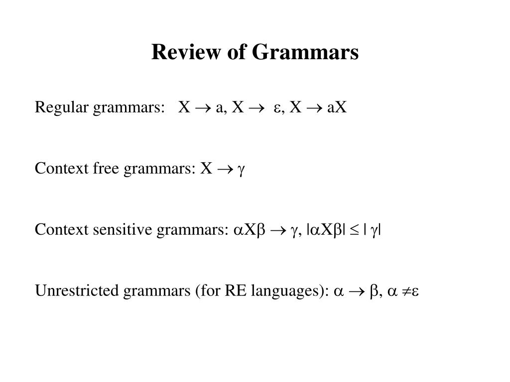 Review of Grammars