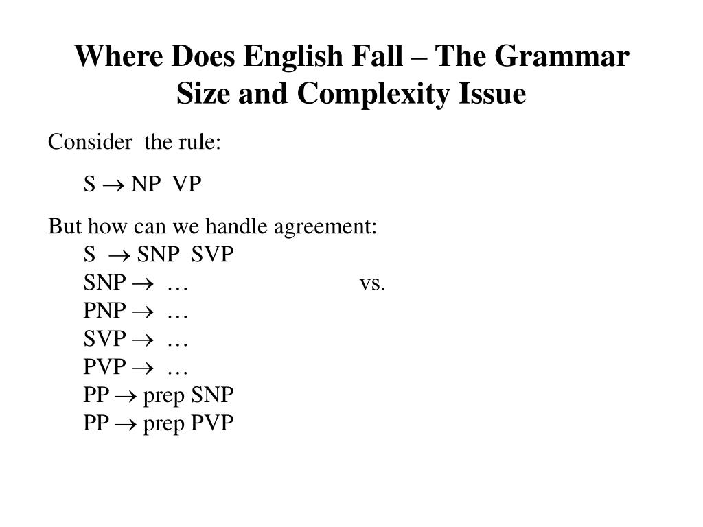 Where Does English Fall – The Grammar Size and Complexity Issue