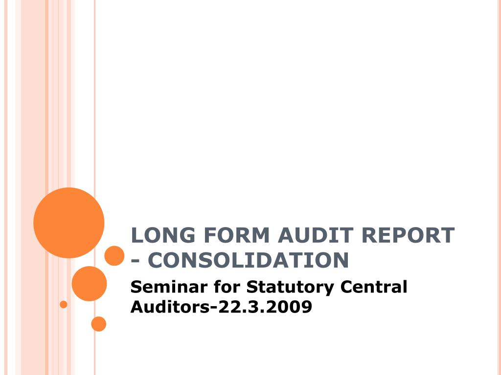 long form audit report consolidation l.