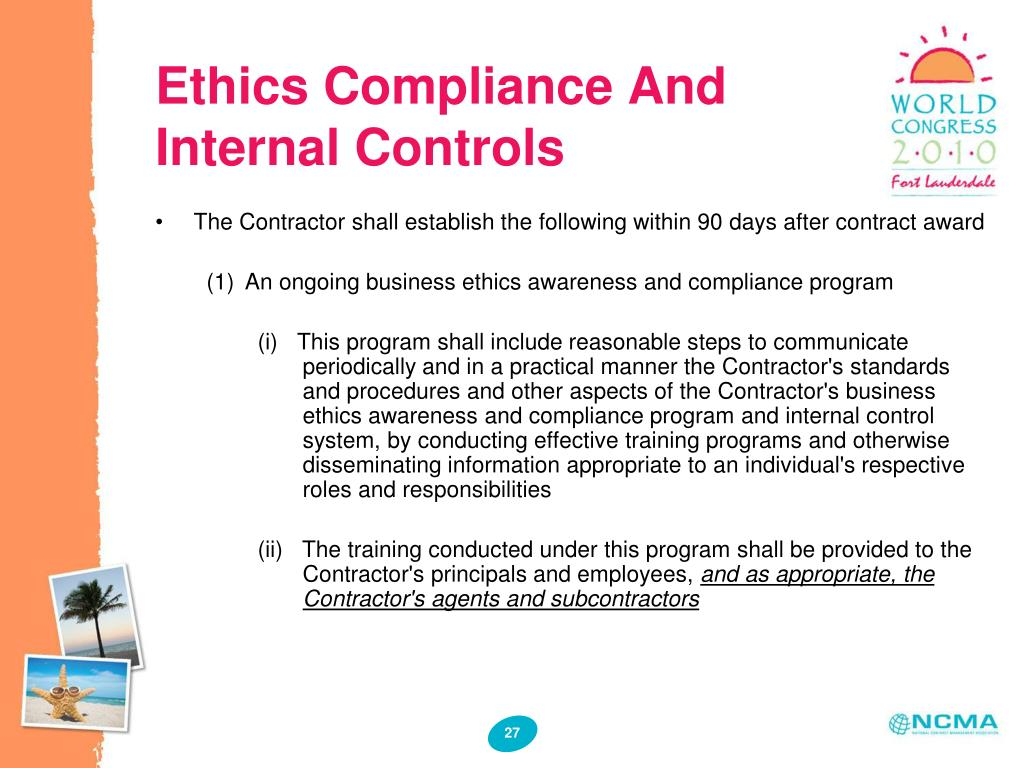 Ethics Compliance And Internal Controls