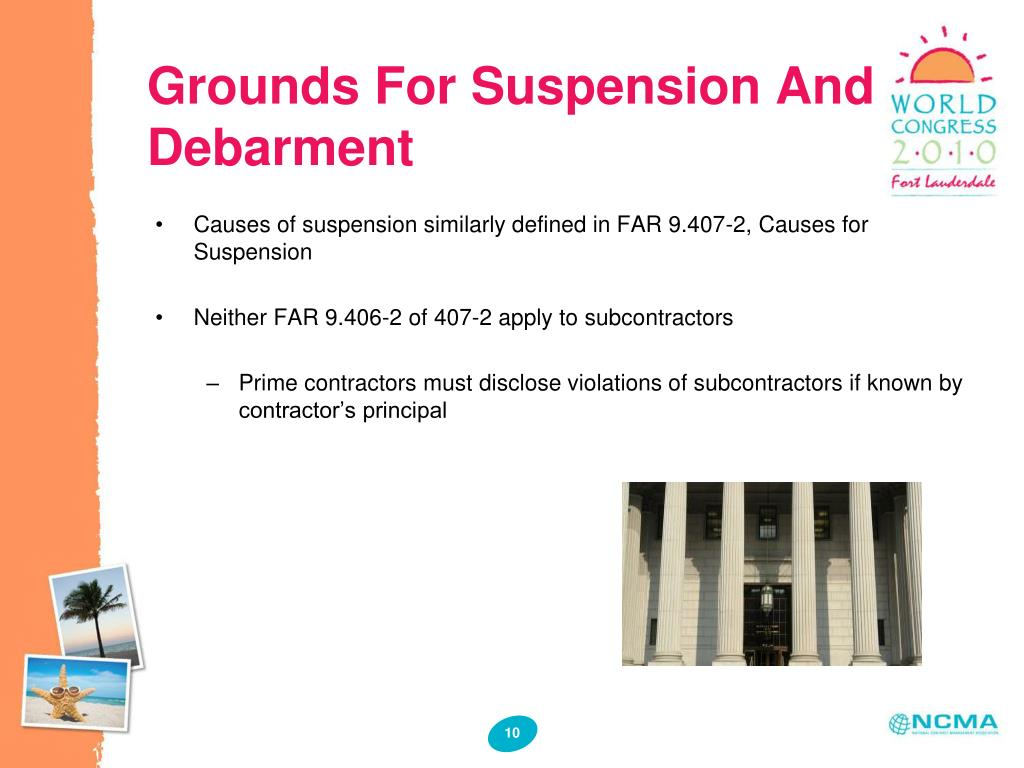 Grounds For Suspension And Debarment