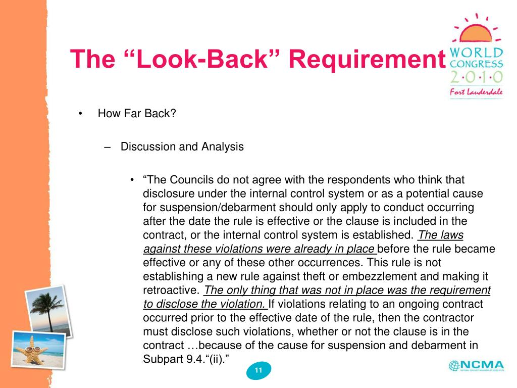 """The """"Look-Back"""" Requirement"""