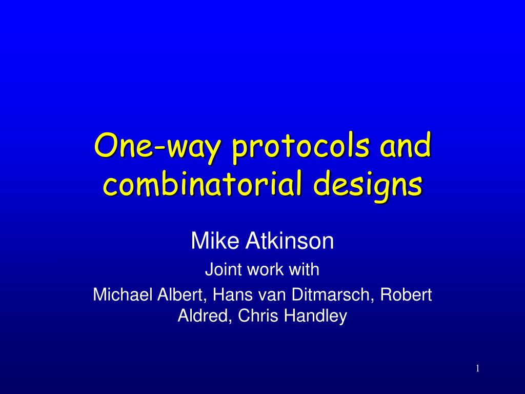 one way protocols and combinatorial designs l.