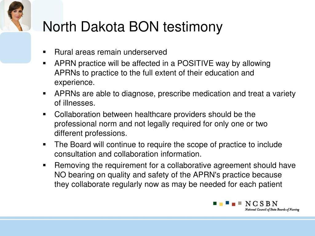 North Dakota BON testimony