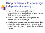 using homework to encourage independent learning