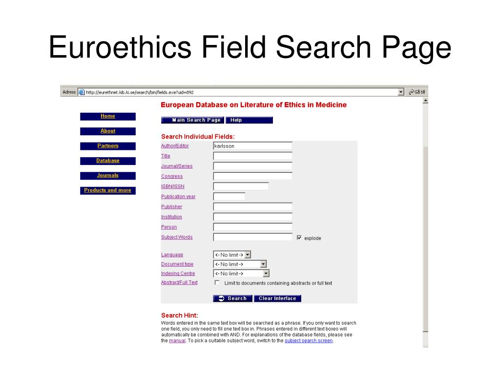 Euroethics Field Search Page
