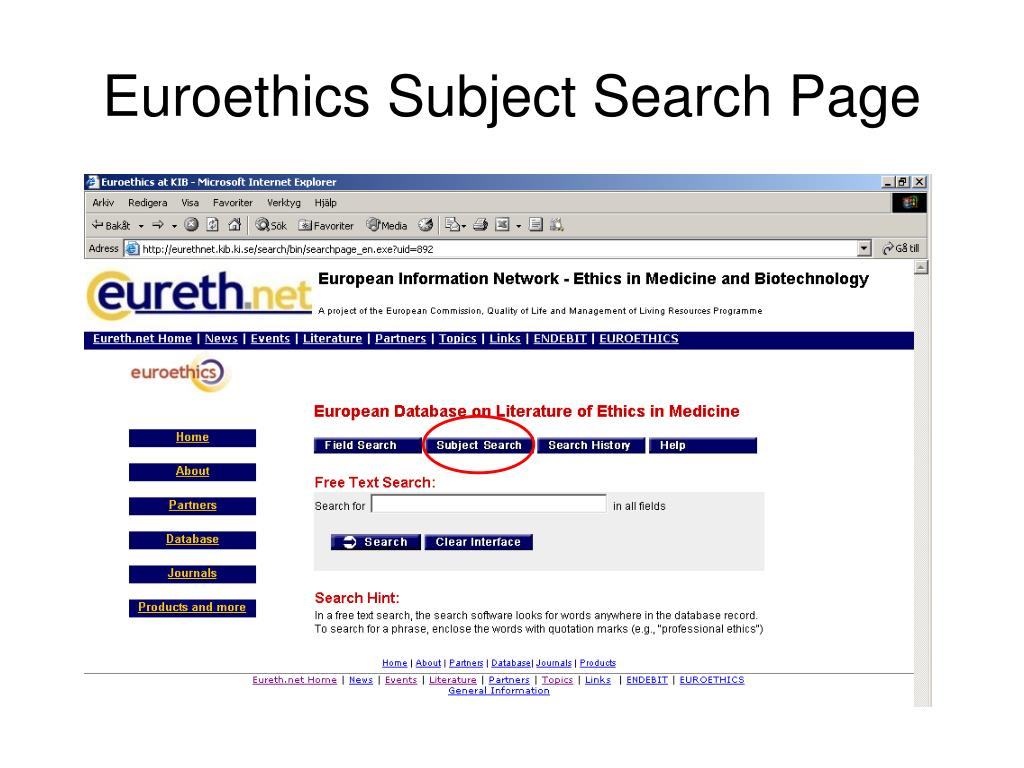 Euroethics Subject Search Page