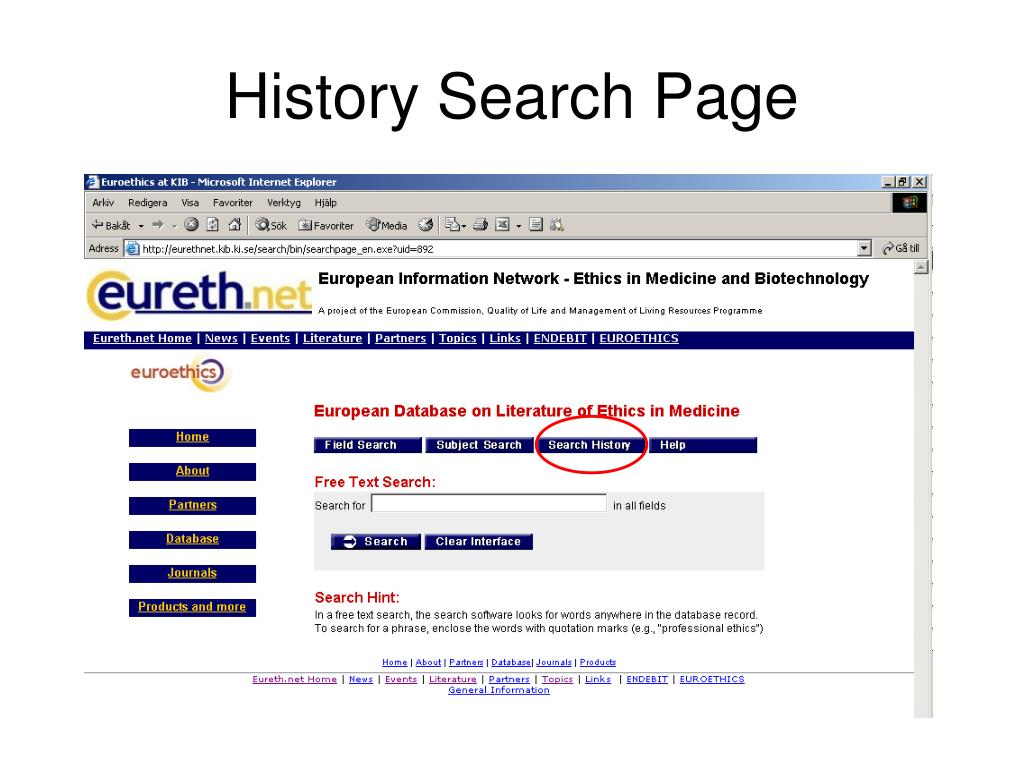 History Search Page
