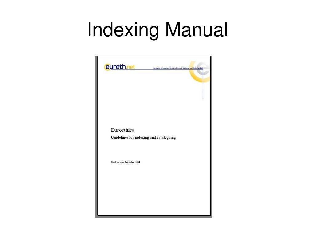 Indexing Manual