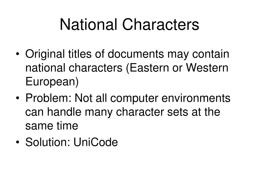 National Characters