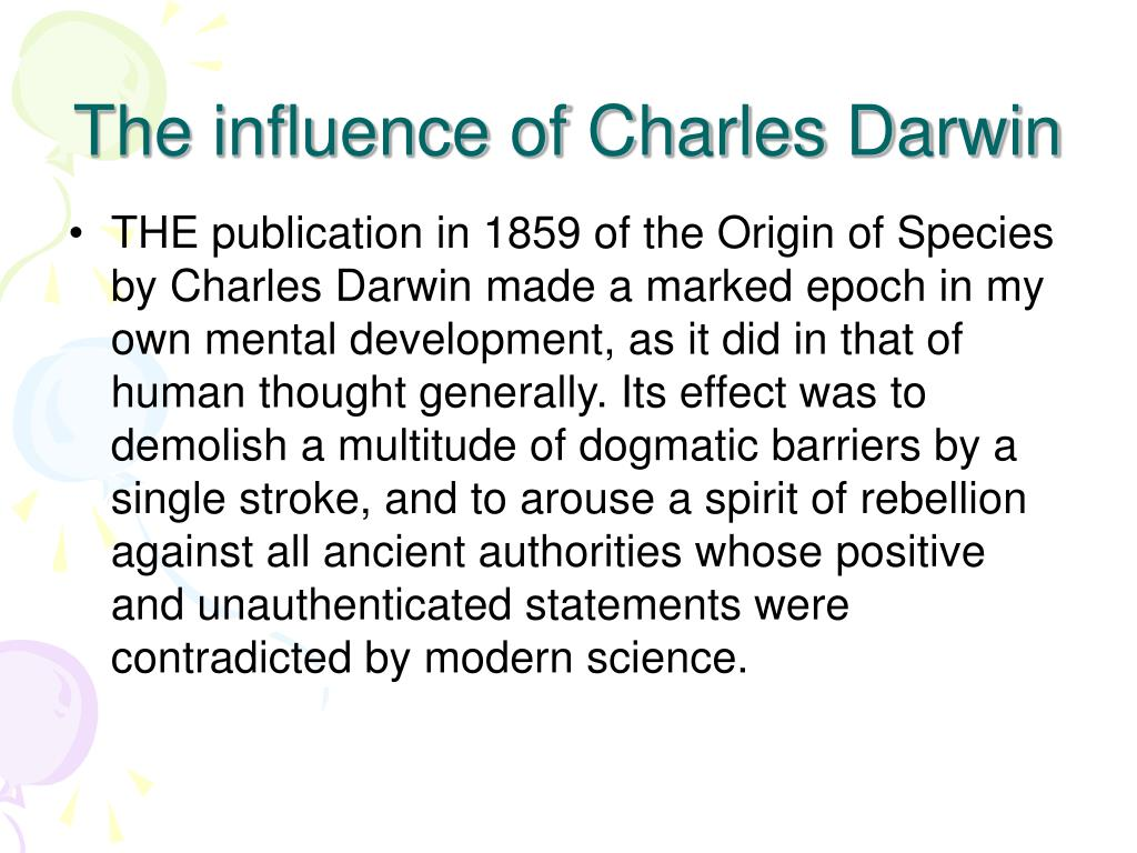The influence of Charles Darwin