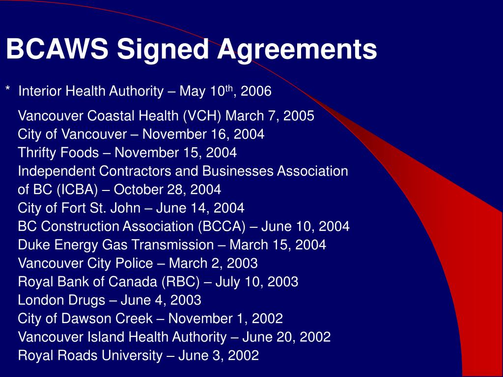 BCAWS Signed Agreements