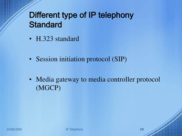 Different type of IP telephony Standard
