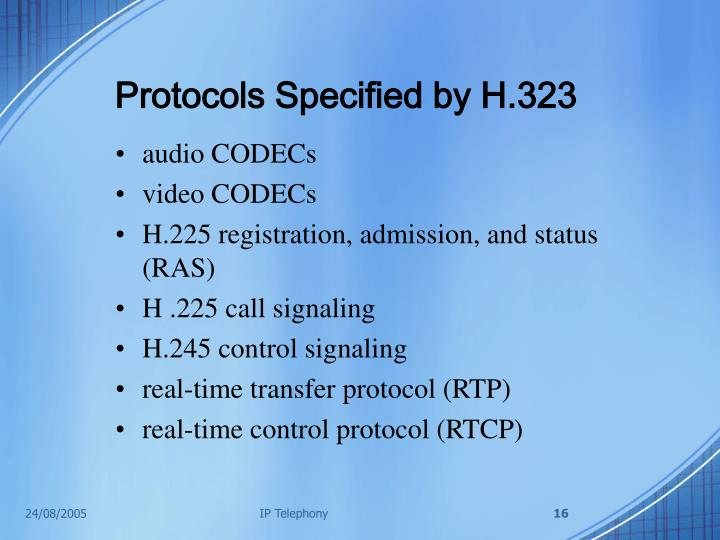 Protocols Specified by H.323