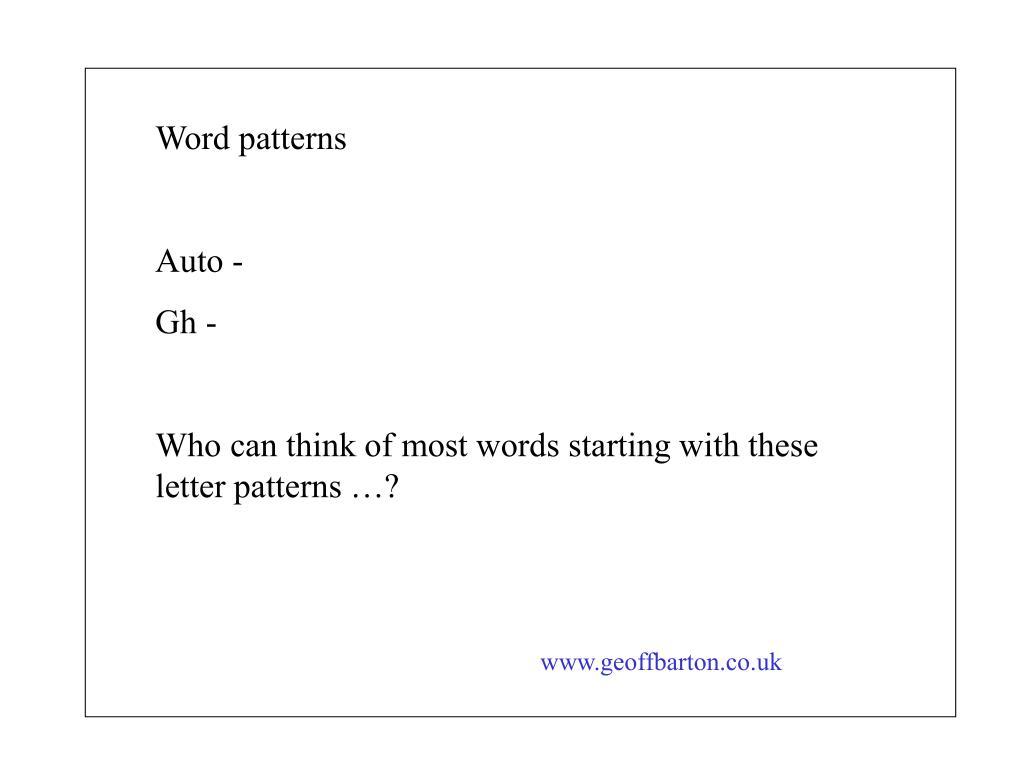 Word patterns