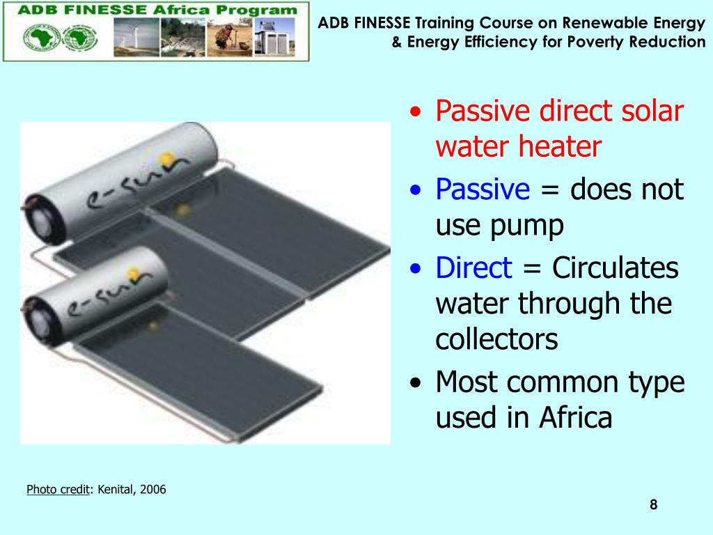 Passive direct solar water heater