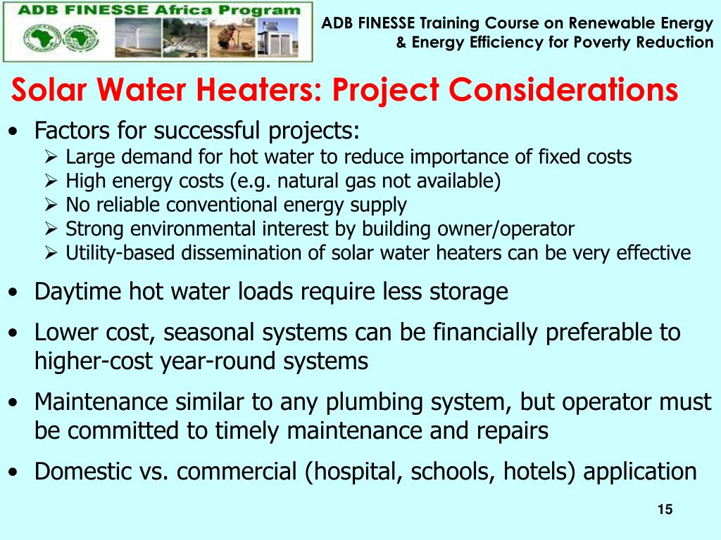 Solar Water Heaters: Project Considerations