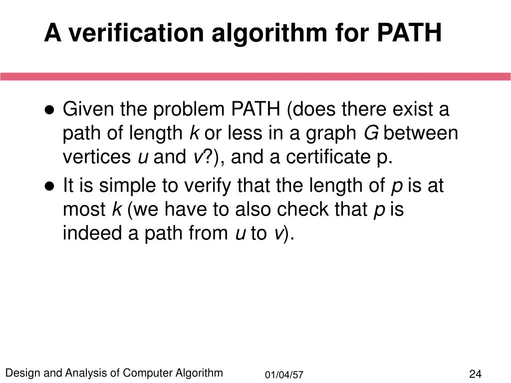 A verification algorithm for PATH