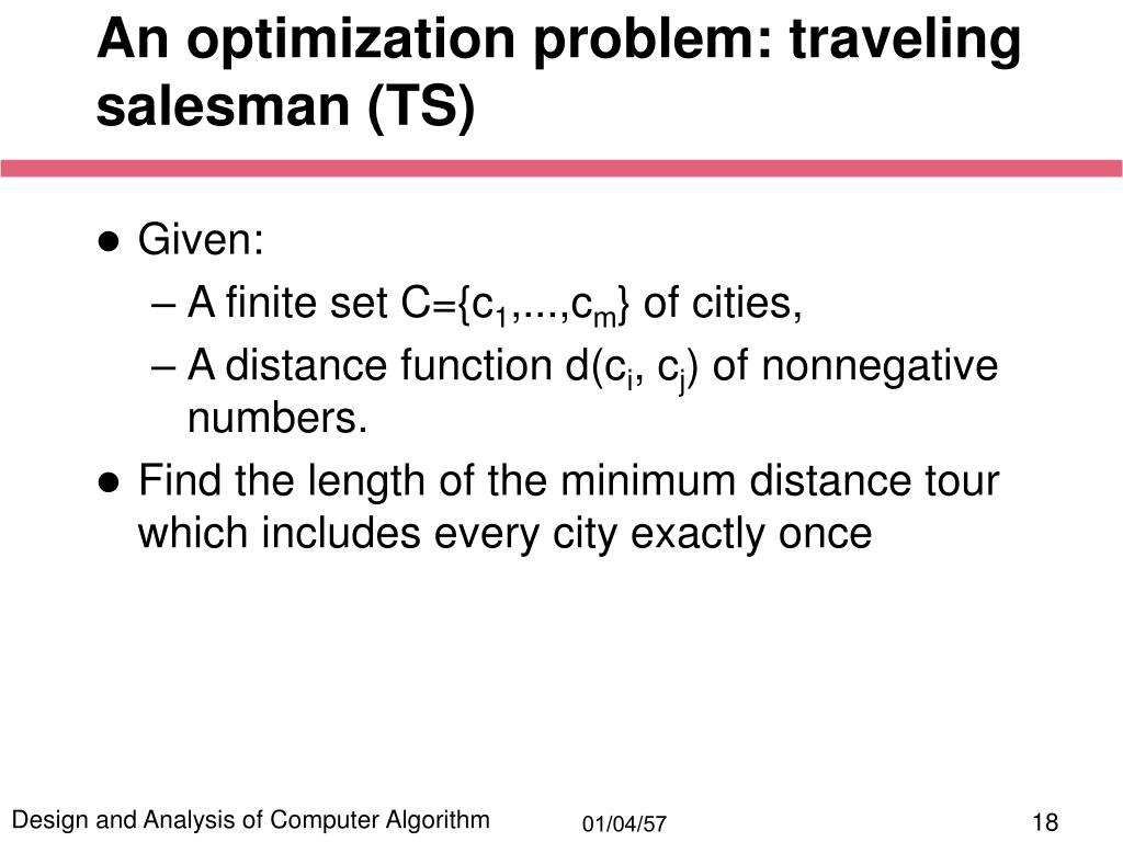 An optimization problem: traveling salesman (TS)