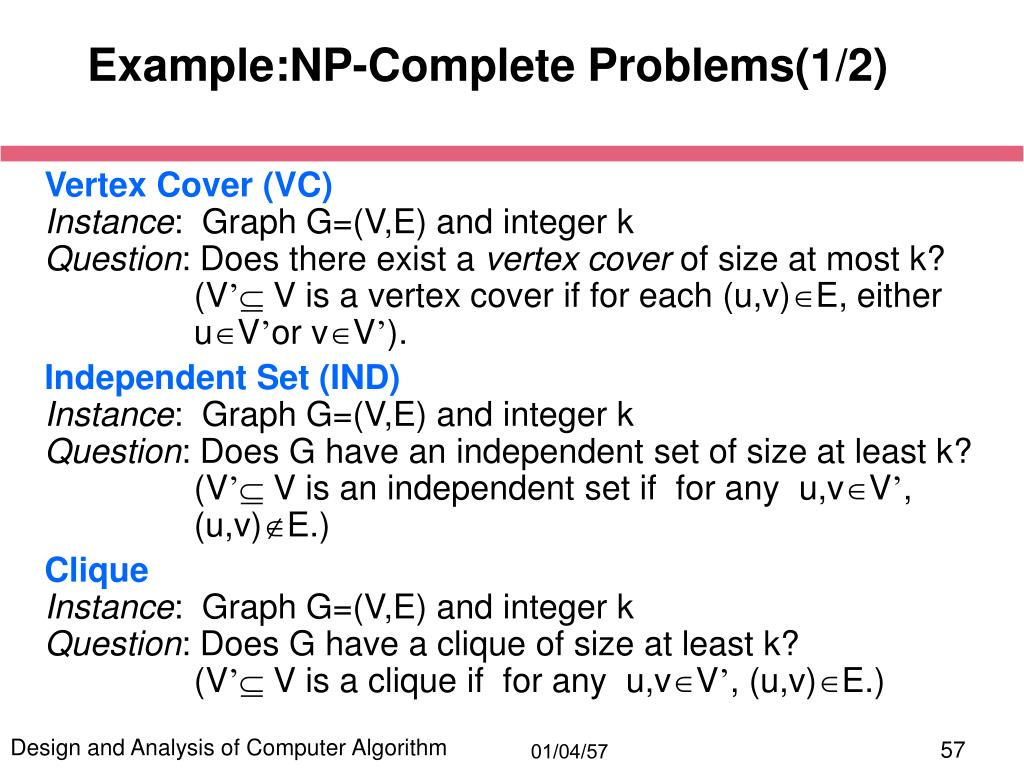 Example:NP-Complete Problems(1/2)