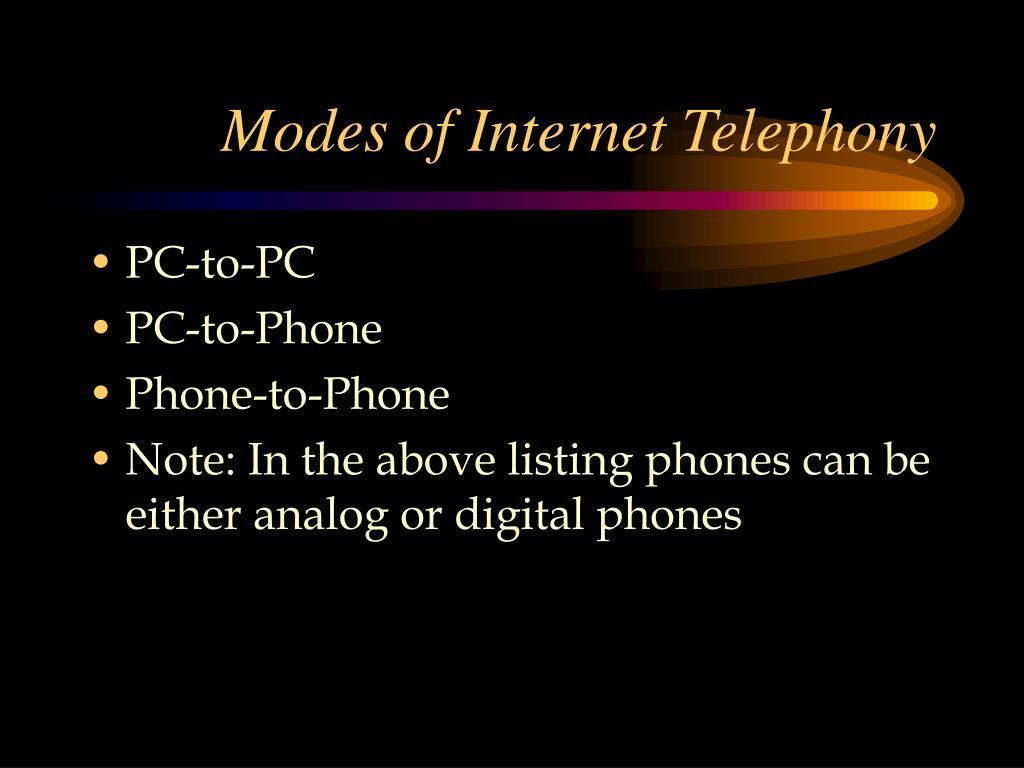 Modes of Internet Telephony