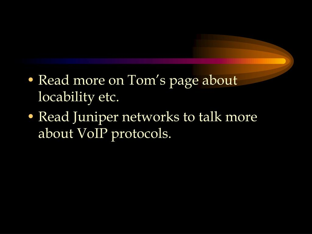 Read more on Tom's page about locability etc.