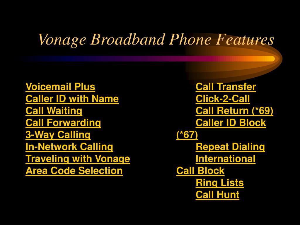 Vonage Broadband Phone Features