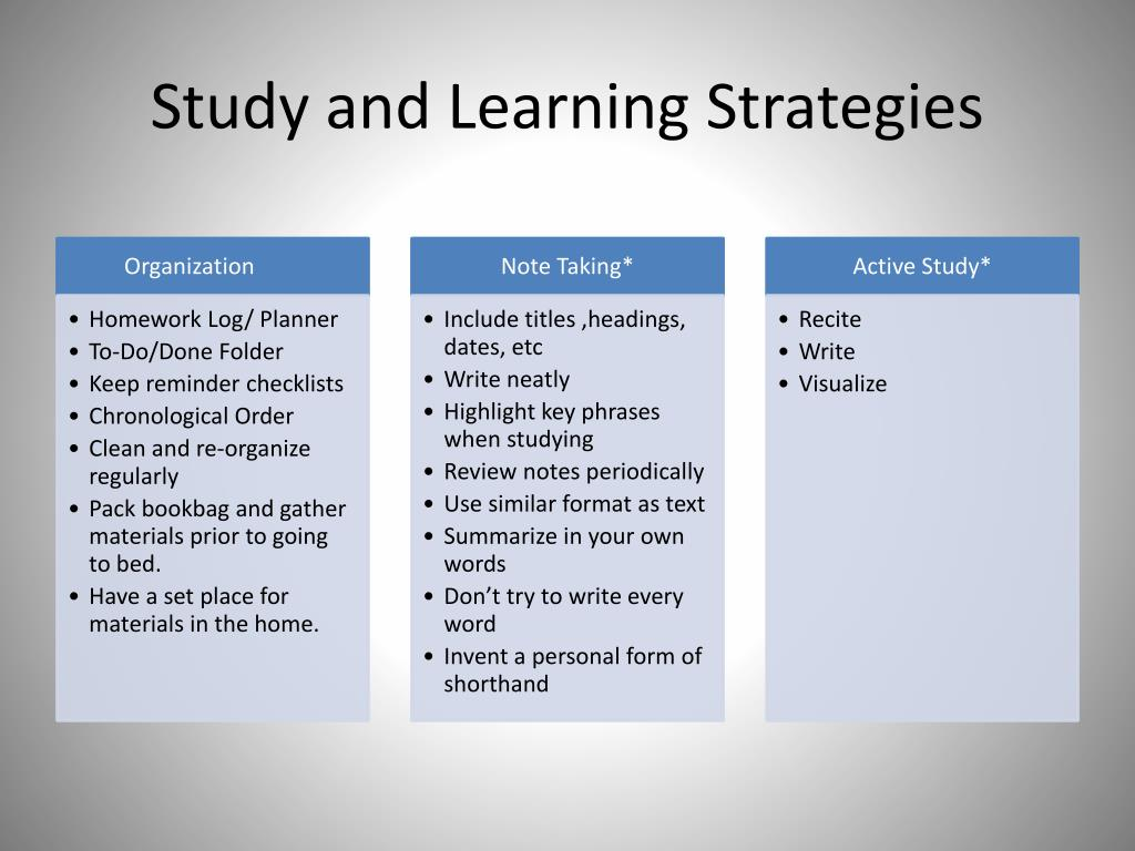 Study and Learning Strategies