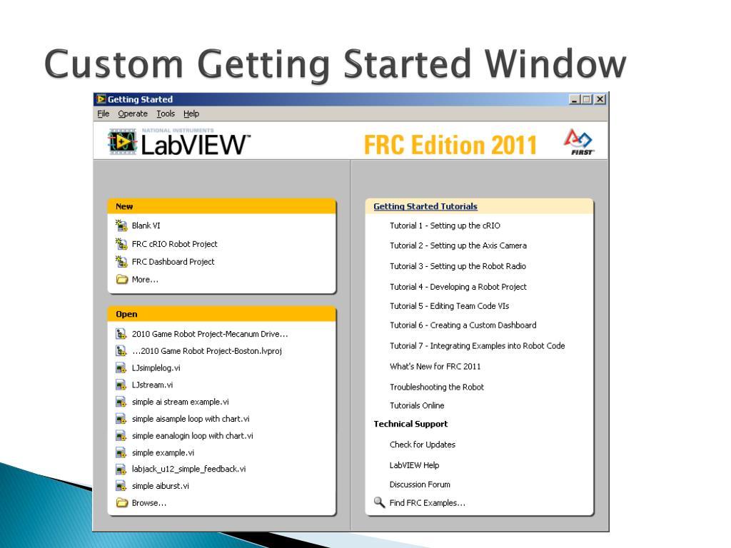 Custom Getting Started Window