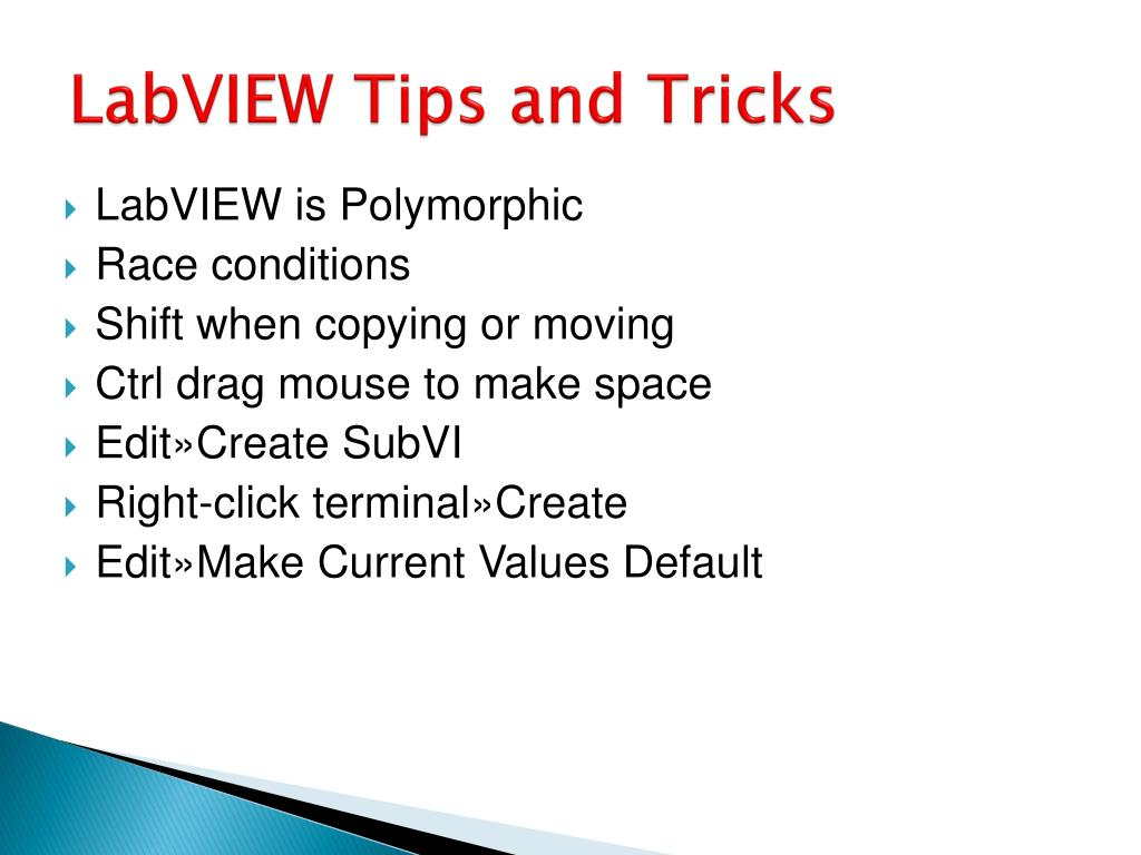 LabVIEW Tips and Tricks