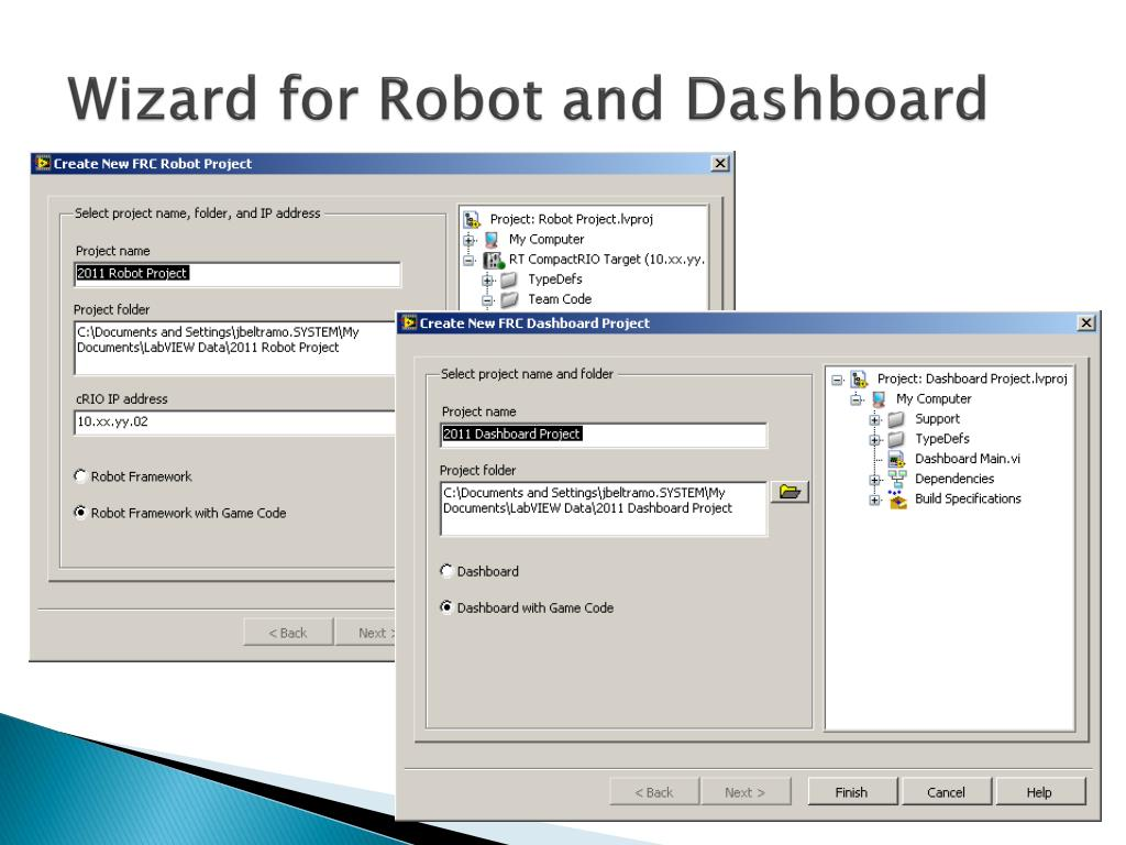 Wizard for Robot and Dashboard