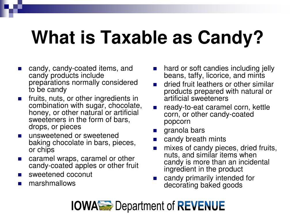 candy, candy-coated items, and candy products include preparations normally considered to be candy