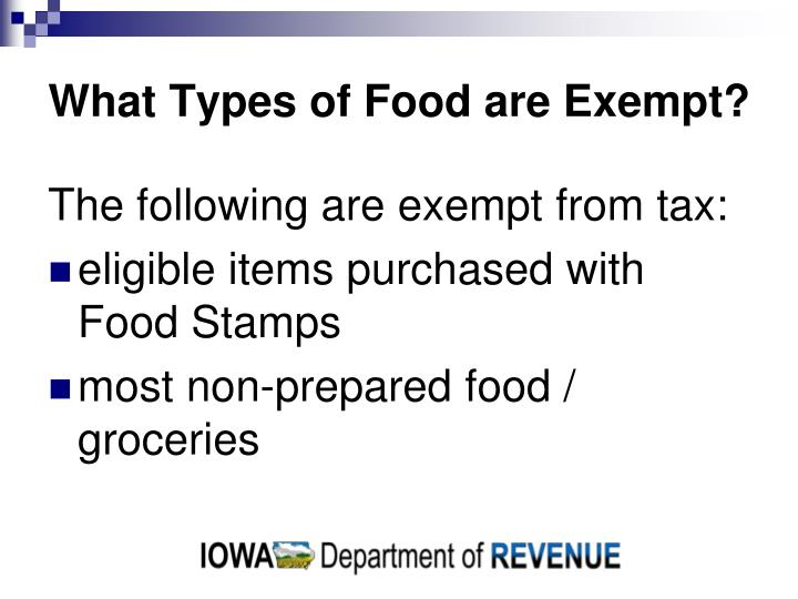 What types of food are exempt
